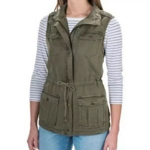 Max Jeans Cargo Utility Vest Jacket Olive Green XS